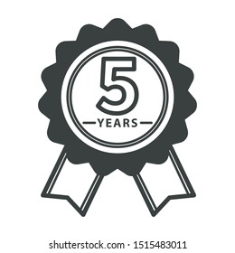 5 year warranty medal isolated icon, quality guarantee symbol vector. Reward or award shape, validation or certificate, product repair insurance. Seal or logo, long term usage emblem with ribbon