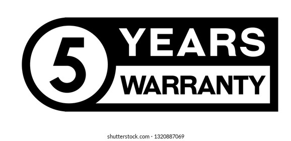 5 year warranty stamp on white background. Sign, label, sticker.