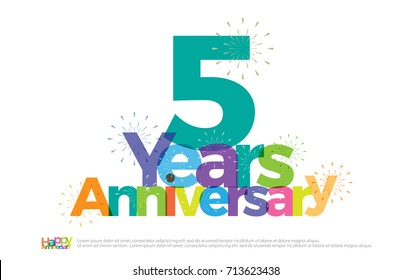 5 years anniversary celebration colorful logo with fireworks on white background. 5th. anniversary logotype template design for banner, poster, card vector illustrator