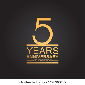 5 years anniversary celebration design with thin number shape golden color for special celebration event