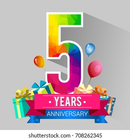 5 Years Anniversary Celebration Design With Gift Box And Balloons Red Ribbon Colorful