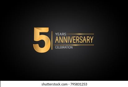 5 years anniversary celebration design with silver and gold color composition isolated on black background