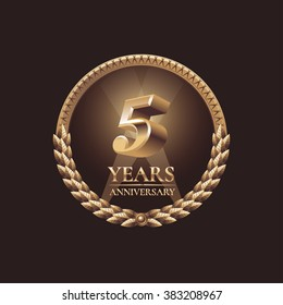 5 years anniversary celebration icon, symbol, emblem, logo. Golden decorative design element for 5th birthday