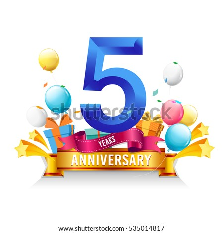 5 Years Anniversary Celebration Logo Birthday Vector Illustration With Gift Box And Balloons