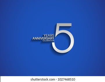 5 years anniversary celebration logotype with silver color isolated on blue background