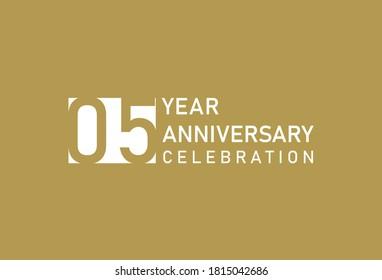 5 years anniversary celebration logotype on gold Background