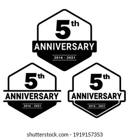 5 years anniversary celebration logotype. 5th anniversary logo collection. Set of anniversary design template. Vector and illustration.