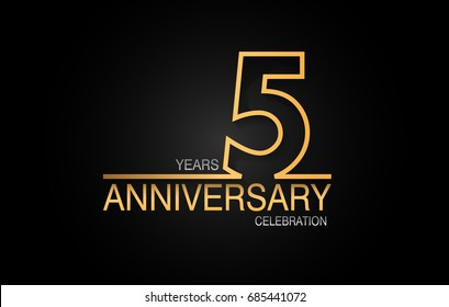 5 years anniversary celebration logotype. anniversary logo with golden and silver color isolated on black background, vector design for celebration, invitation card, and greeting card