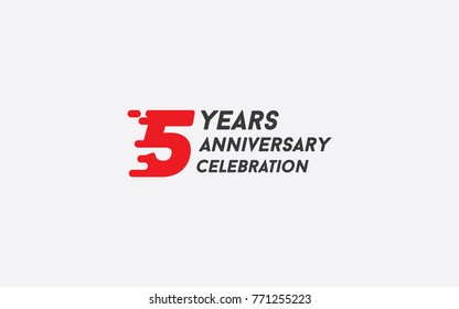 5 Years Anniversary Celebration Logotype vector illustration with red splash number isolated on white background