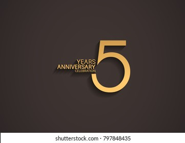 5 years anniversary celebration logotype with elegant gold color for celebration