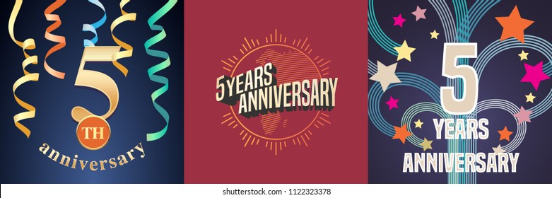 5 years anniversary celebration set of vector icons, logo. Template design element with golden number for 5th anniversary greeting card