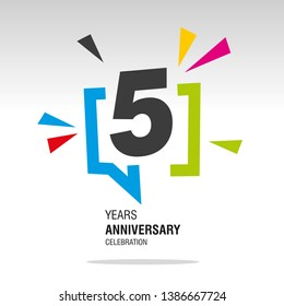 5 Years Anniversary colorful white modern logo icon banner holiday illustration