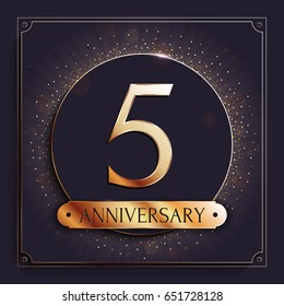 5 years anniversary gold banner on dark background. Vector illustration.
