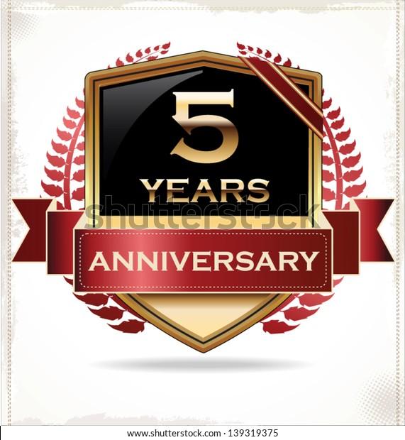 5 years anniversary golden label