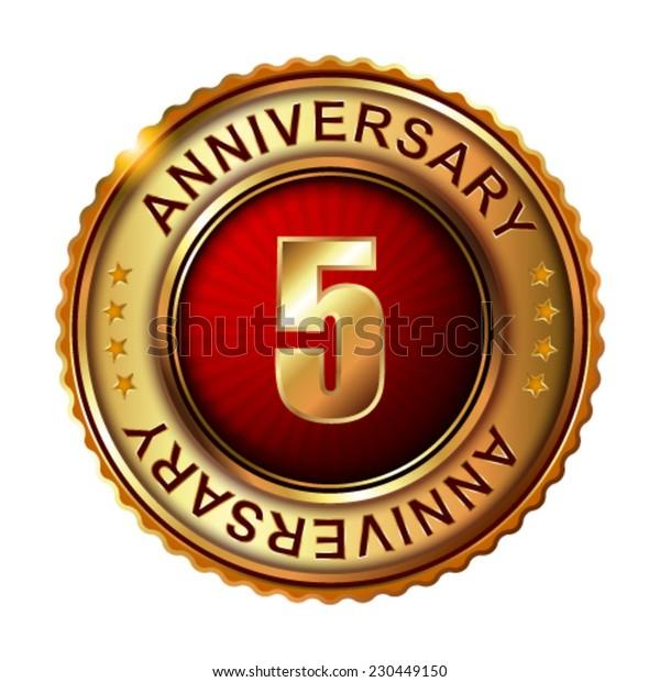 5 years anniversary golden label. Vector illustration.