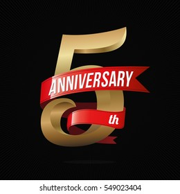 5 Years Anniversary Golden Logo Celebration with Red Ribbon