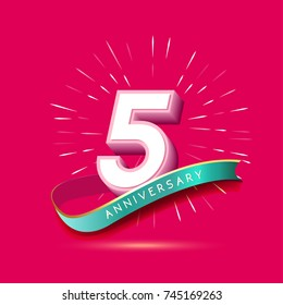5 years anniversary logo celebration with firework and ribbon