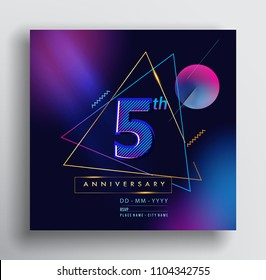 5 Years Anniversary Logo with Colorful Galactic background, Vector Design Template Elements for Invitation Card and Poster Your Birthday Celebration.
