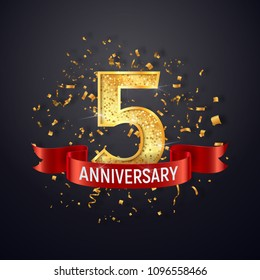 5 years anniversary logo template on dark background. Five celebrating golden numbers with red ribbon vector and confetti isolated design elements