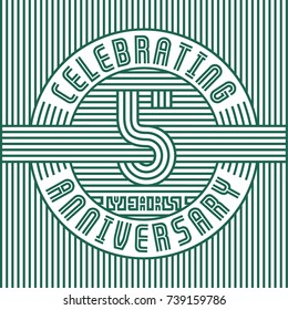 5 years anniversary logo. Vector and illustration. Line art anniversary design template