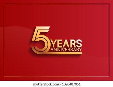 5 years anniversary logotype with golden multiple line style on red background for celebration