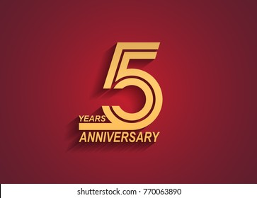 5 years anniversary logotype with linked number golden color isolated on red background for celebration event