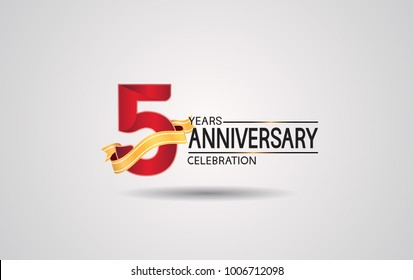 5 years anniversary logotype with red color and golden ribbon isolated on white background for celebration event