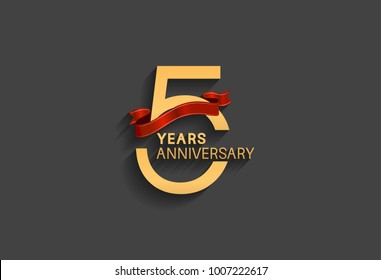 5 years anniversary logotype with red ribbon and golden color for celebration event