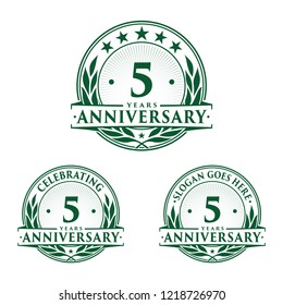 5 years anniversary set. 5th celebration logo collection. Vector and illustration.