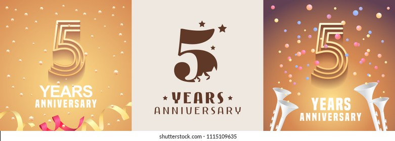 5 years anniversary set of vector icon, symbol. Graphic design element with festive golden background for 5th anniversary