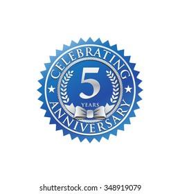 5 years anniversary silver blue badge logo