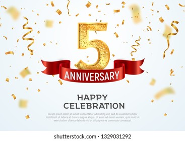 5 years anniversary vector banner template. Five year jubilee with red ribbon and confetti on white background