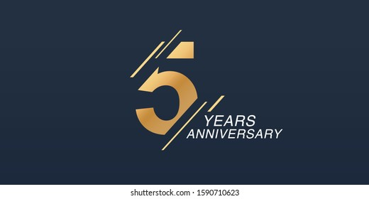 5 years anniversary vector icon, logo. Graphic design element with golden number on isolated background for 5th anniversary