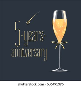 5 years anniversary vector icon,  logo. Graphic design element with golden lettering and glass of champagne for 5th anniversary greeting card or banner
