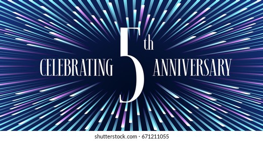 5 years anniversary vector icon,  banner. Graphic design element or logo with abstract background for 5th anniversary