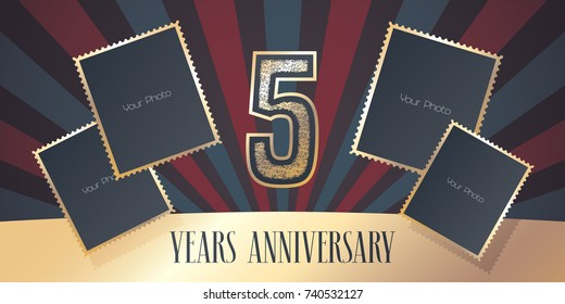 5 years anniversary vector icon, logo. Template design element, greeting card with collage of photo frames and gold color number for 5th anniversary. Can be used as background or banner