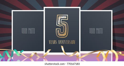 5th anniversary vector ~ 5 year anniversary images stock photos & vectors shutterstock