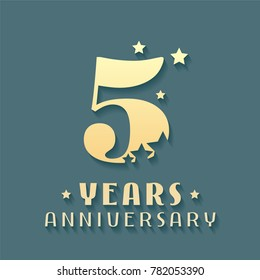 5 years anniversary vector icon, symbol, logo. Graphic design element for 5th anniversary birthday card