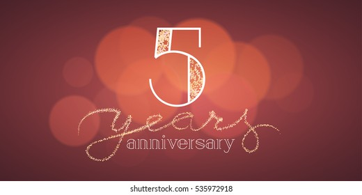 5 years anniversary vector illustration, banner, flyer, icon, symbol, sign, logo. Graphic design element with bokeh effect for 5th birthday card