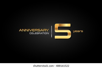 5 years gold anniversary celebration logo, isolated on dark background