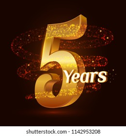 5 years golden anniversary 3d logo celebration with Gold glittering spiral star dust trail sparkling particles. Five years anniversary modern design elements. Vector Illustration.