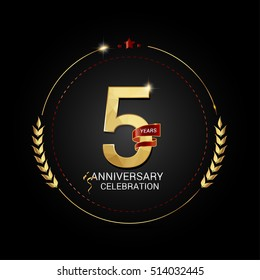 5 years golden anniversary logo with red ribbon, low poly design number, isolated on black background