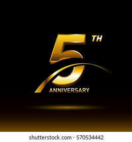 5 years golden anniversary logo celebration