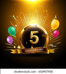 5 years golden anniversary logo celebration with ring, ribbon, firework, and balloon