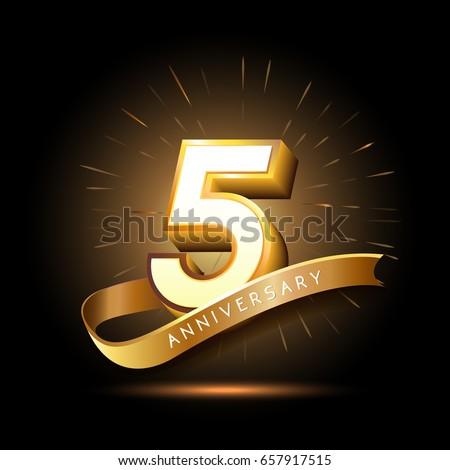 5 Years Golden Anniversary Logo Celebration Stock Vector Royalty