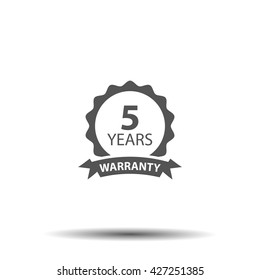 5 years and lifetime warranty label or seal flat icon
