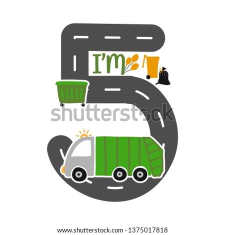 Im 5 Years Old Birthday Boy Garbage Truck T Shirt Cute