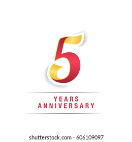 5 Years Red and Yellow  Anniversary  Logo Celebration Isolated on White Background