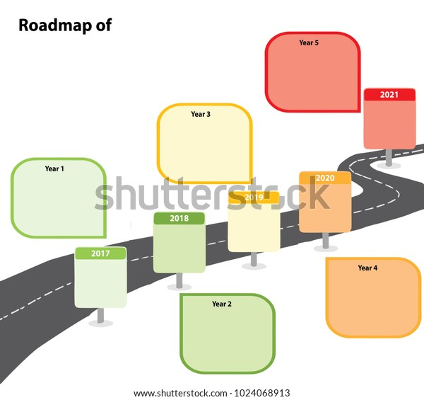 5 Years Roadmap Infographic Template 2017 Stock Vector Royalty Free 1024068913