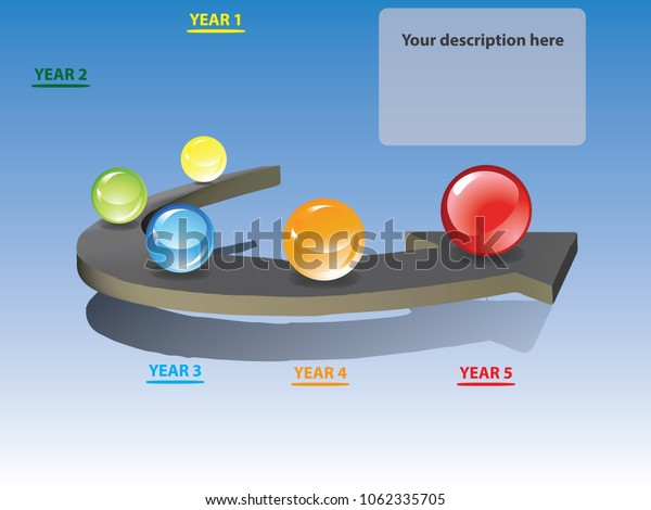 5 Years Roadmap Infographic Template. Flat style Infographic design Template or Background. Can be used for job Presentation. Can put your own texts in the space provided in infographic. Vector EPS10